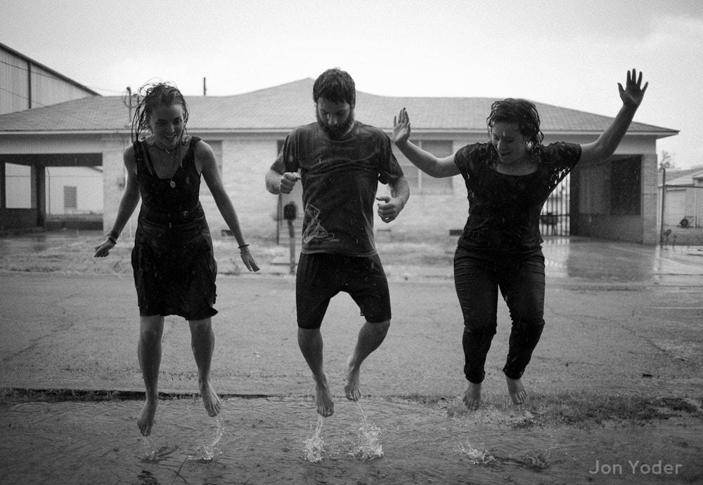 jumping in rain