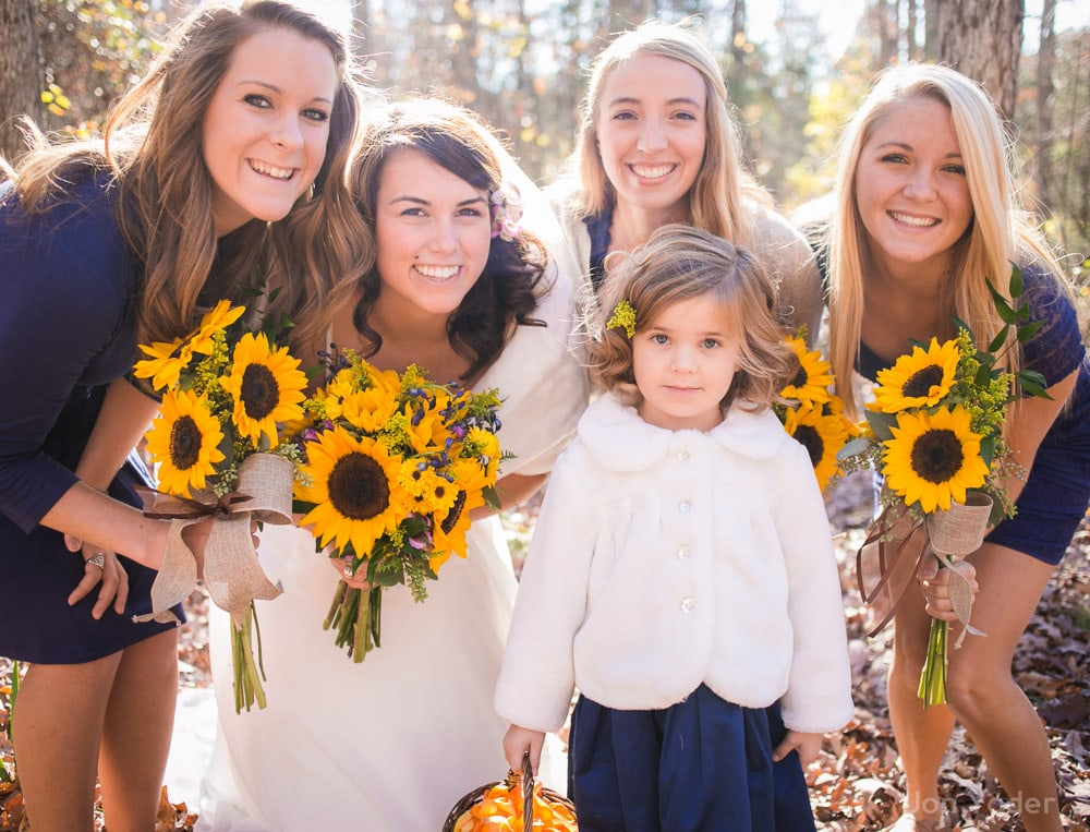 flower girl with bridesmaids