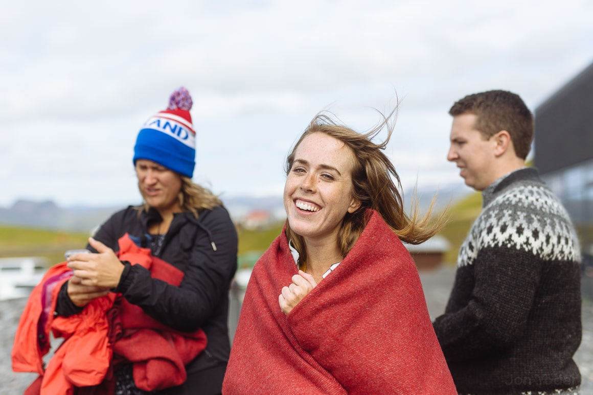happy black beach iceland portrait